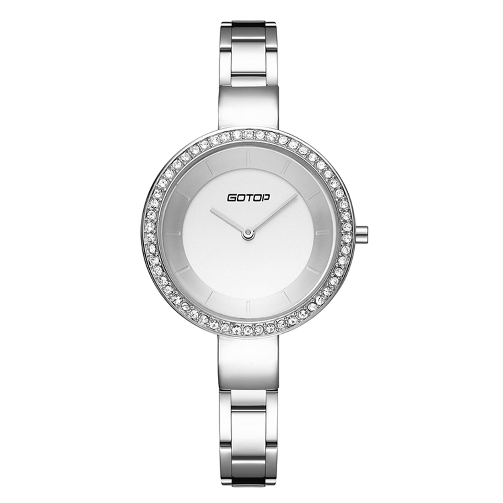Polished Silver Finish Stainless Steel Women's Watch