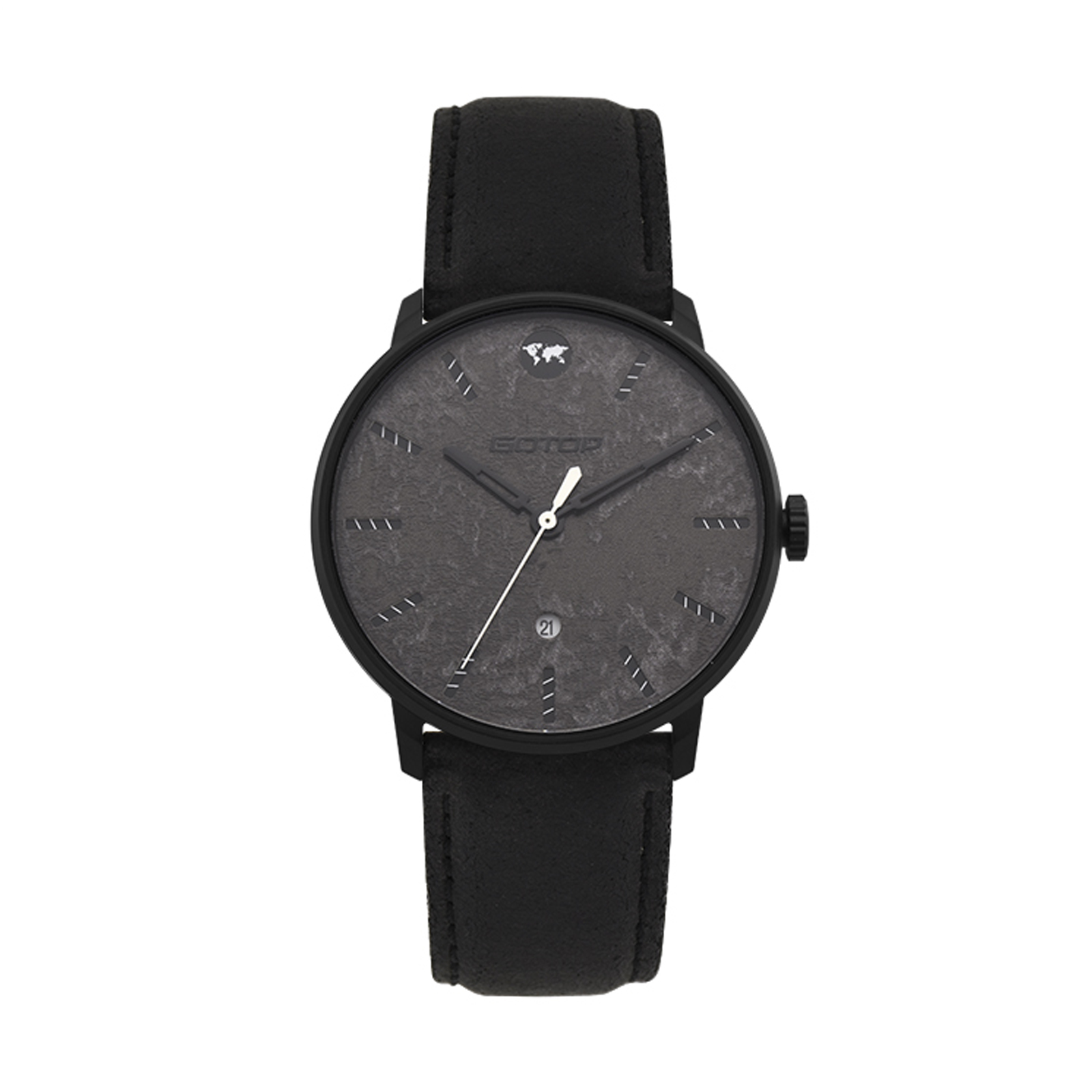 Men's Black Watch With Leather Strap