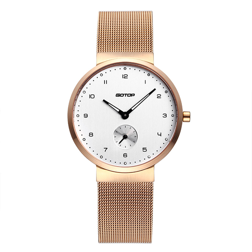 Rose Gold Women's Watch With Mesh Band