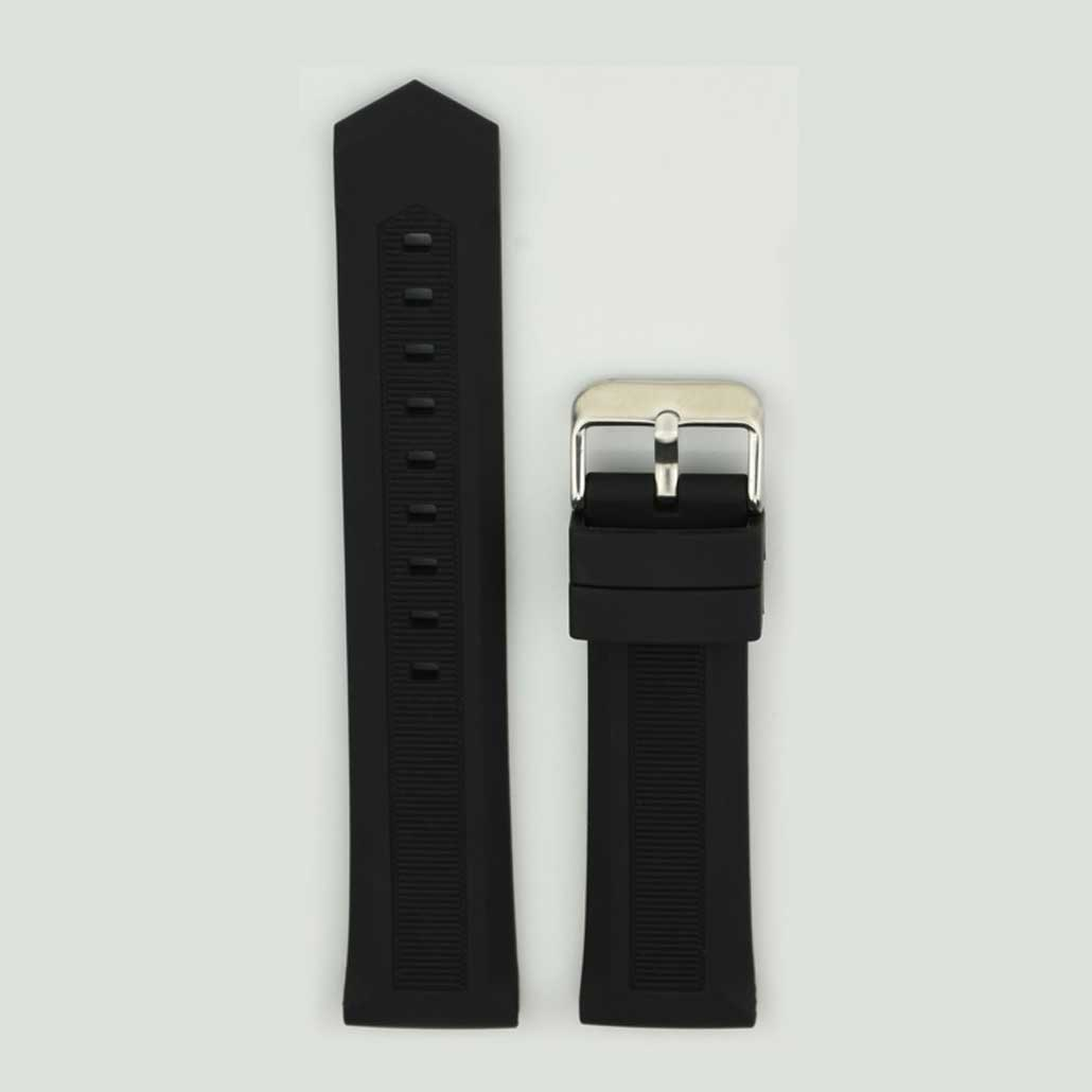 Black Silicone Rubber Women's Watch Band